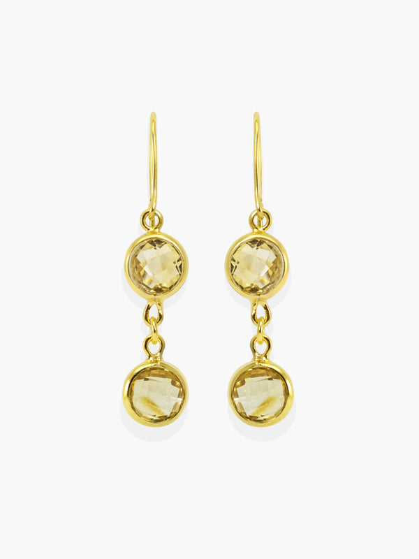 Capri Citrine Earrings handmade by Vintouch Jewels, available either in 18k gold plated silver or 14k gold.