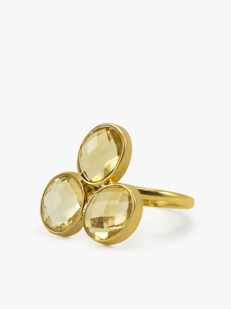 Capri Citrine Ring handmade by Vintouch Jewels in 18k gold plated silver