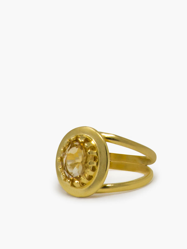 Citrine Double Band Ring by Vintouch Jewels. Handmade in Italy with yellow citrine quartz and 18k gold plated silver.