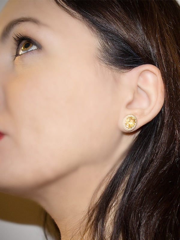 Luccichio Yellow Citrine Stud Earrings