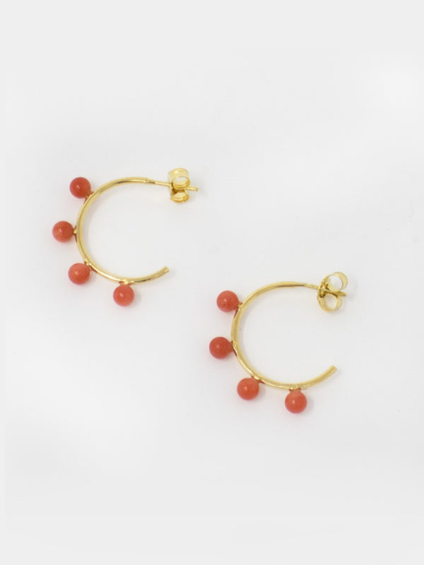 Four Coral Beads fixed on 18k gold over silver hoop earrings.