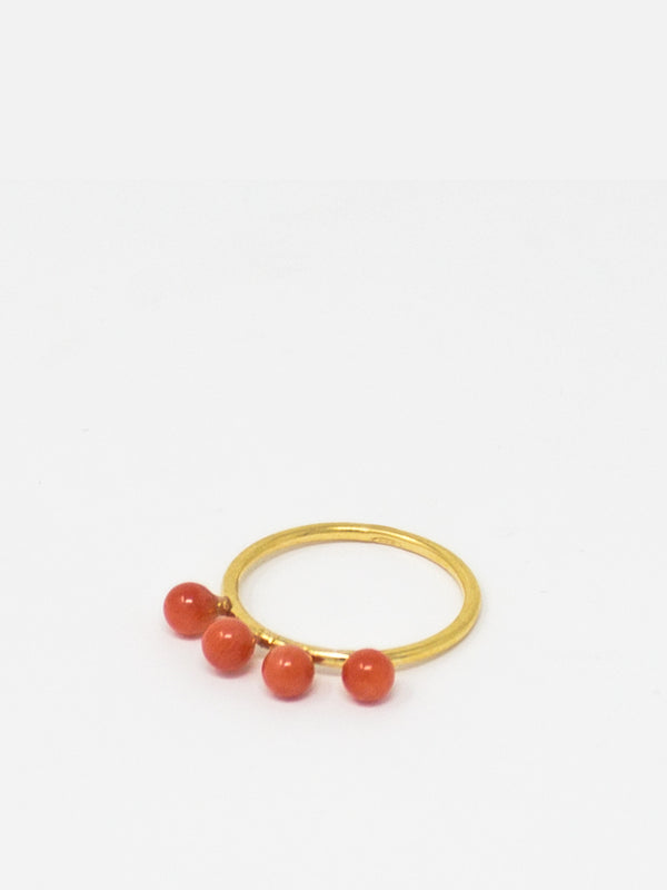 Coral Beads Stacking Ring handmade from 18k gold over silver
