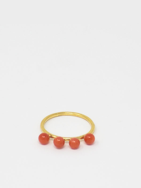 Coral Beads Stacking Ring