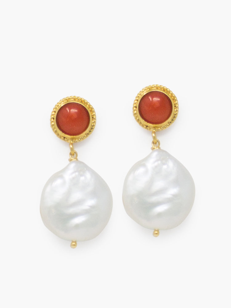 Tiered Red Coral and Keshi Pearls stud earrings, handmade from 18k gold over silver.