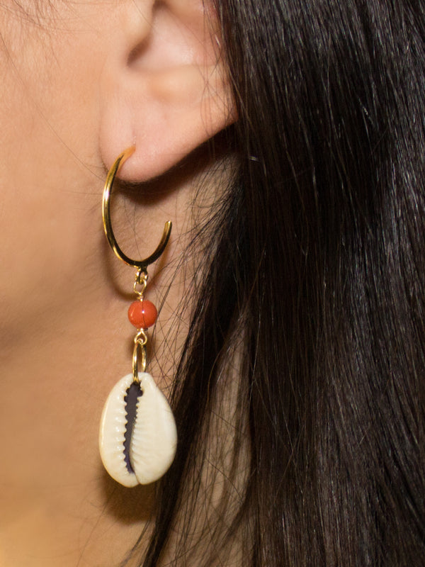 Vintouch Coral Cowry Shells Hoop Earrings