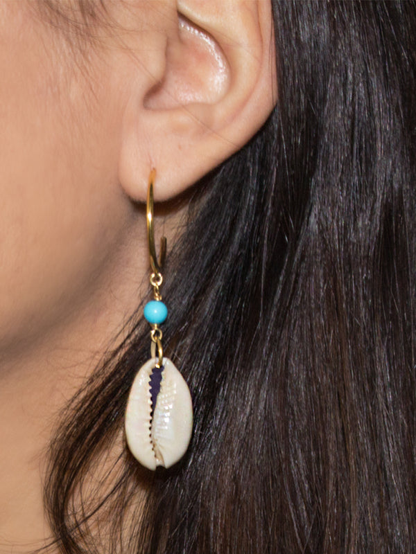 Vintouch Turquoise Cowry Shells Hoop Earrings
