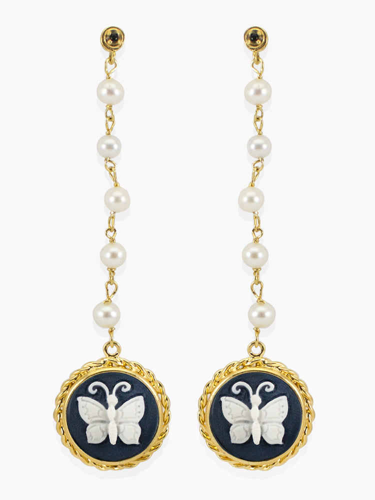 Vintouch Chrysalis Cameo & Pearls Earrings