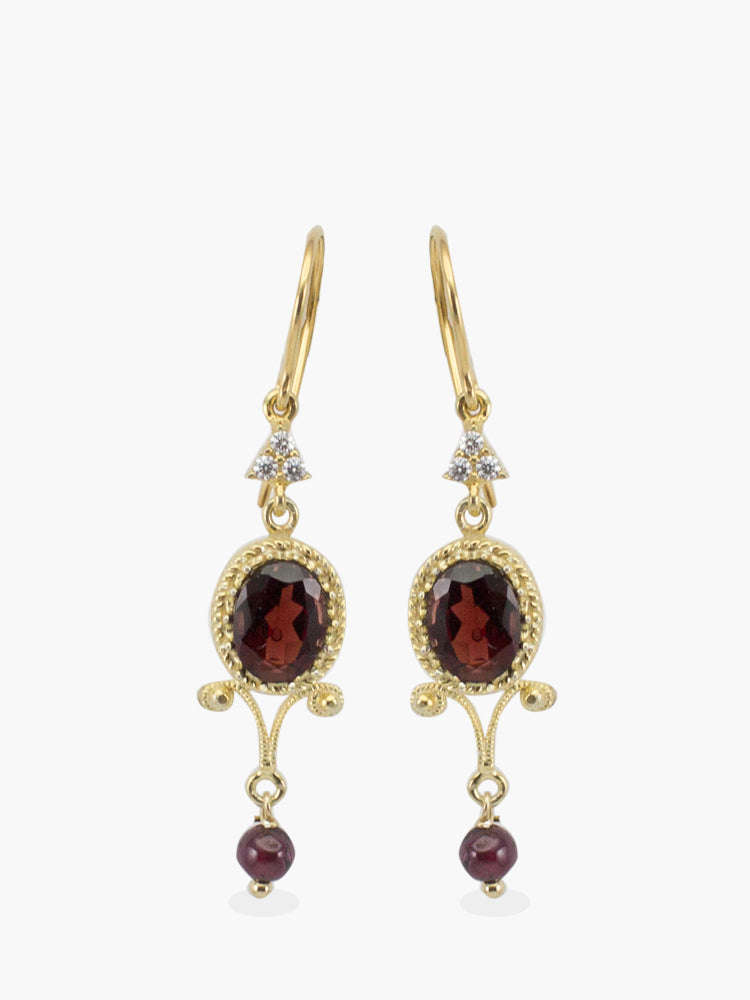 Garnet Chandelier Earrings, handmade from 18k gold over sterling silver featuring garnet gemstones and white AAA Cubic Zirconia.