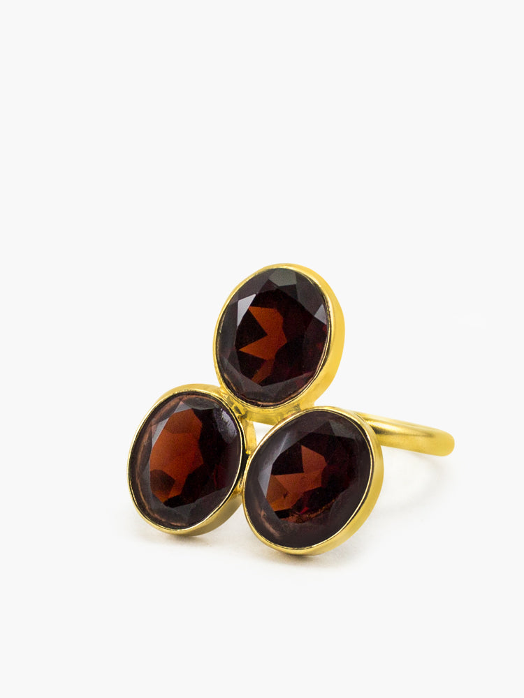 Pompei Garnet Ring handmade by Vintouch Jewels in 18k Gold plated silver
