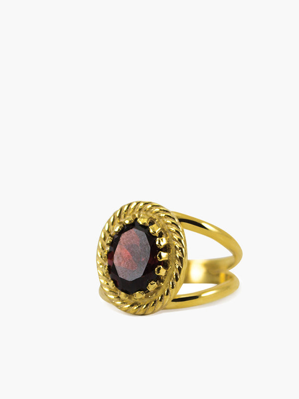 Luccichio Garnet Ring, handmade by Vintouch Jewels in Italy featuring a genuine garnet gemstone handset in 18k gold over sterling silver.