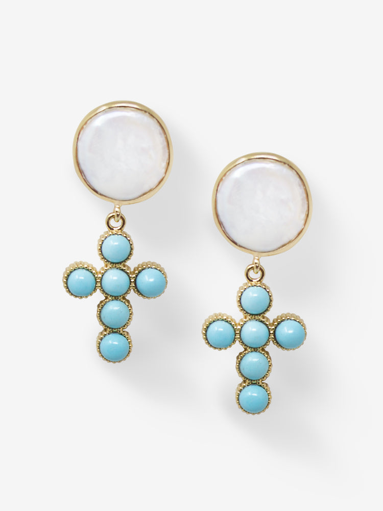 Hope Gold-plated Turquoise Cross Earrings