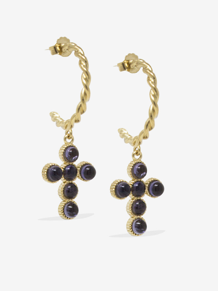 Hope Gold-plated Iolite Hoop Earrings
