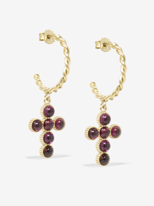 Hope Gold-plated Rhodolite Hoop Earrings
