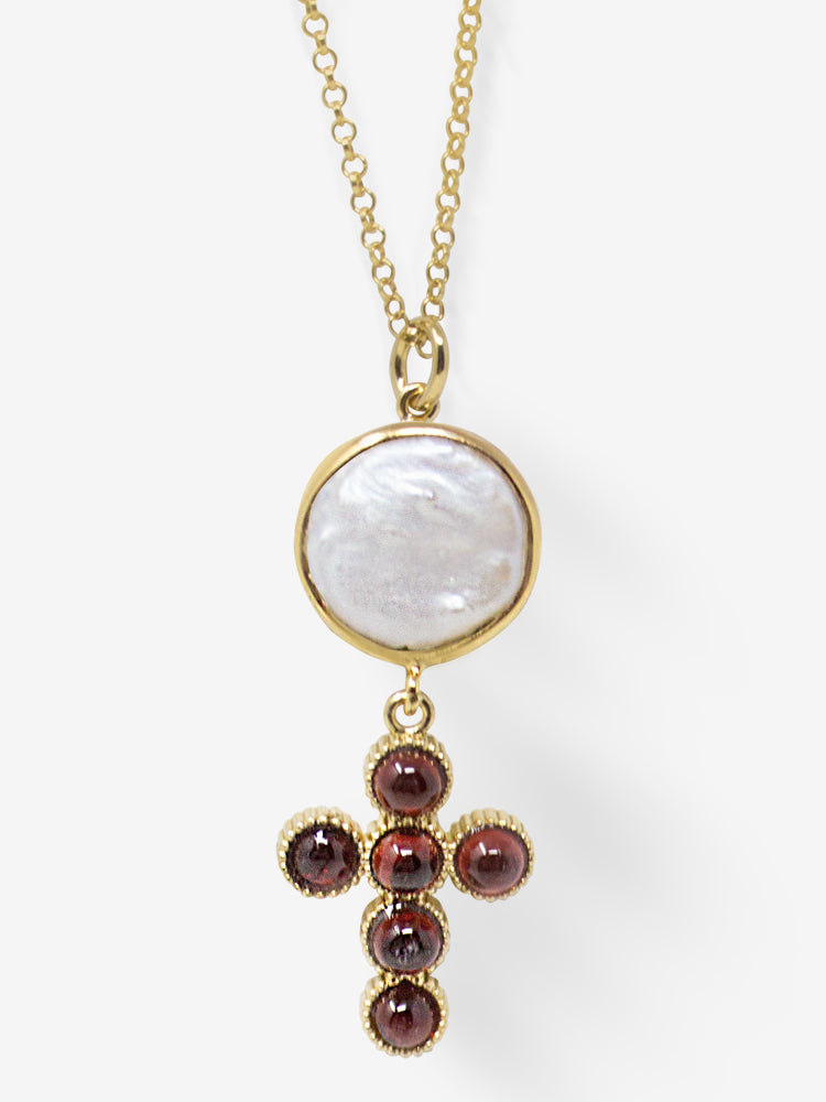 Hope Gold-plated Garnet Cross Necklace