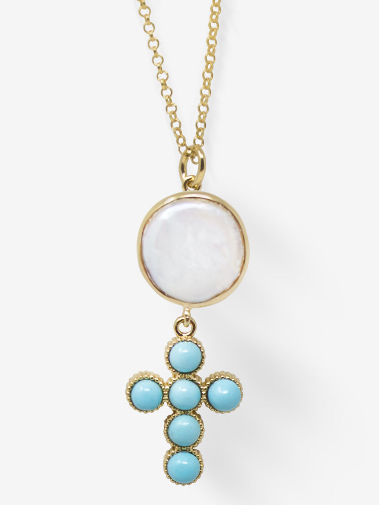 Hope Gold-plated Turquoise Cross Necklace
