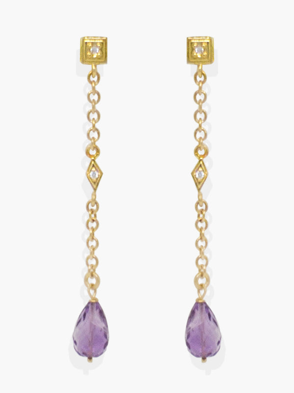 Here at Vintouch we're constantly focused on environmental sustainability, so we strive to craft our jewelry pieces from responsibly sourced materials. These earrings are inspired from Deco style jewelry, cast in our workshops in Italy from 18k gold-plated silver strung with faceted, ethically sourced amethyst and AAA grade cubic zirconia that shimmer in the light.