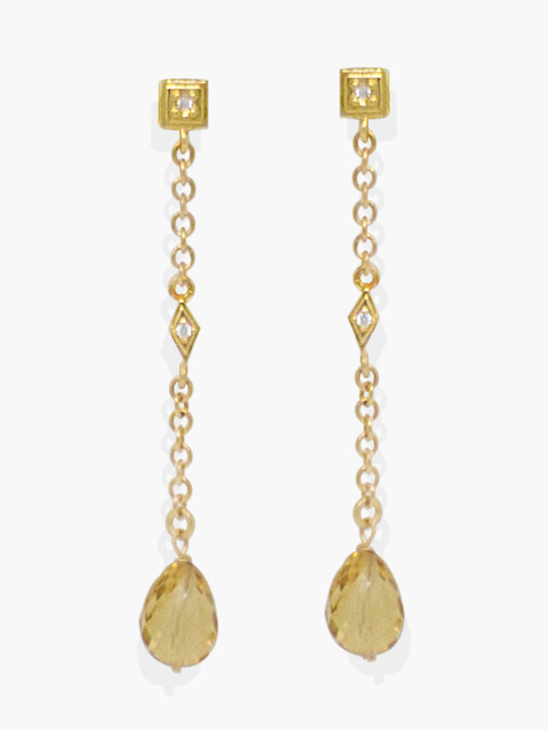 Here at Vintouch we're constantly focused on environmental sustainability, so we strive to craft our jewelry pieces from responsibly sourced materials. These earrings are inspired from Deco style jewelry, cast in our workshops in Italy from 18k gold-plated silver strung with faceted, ethically sourced yellow citrine quartz and AAA grade cubic zirconia that shimmer in the light. They're elegant enough to be worn either in the day or at a night event.