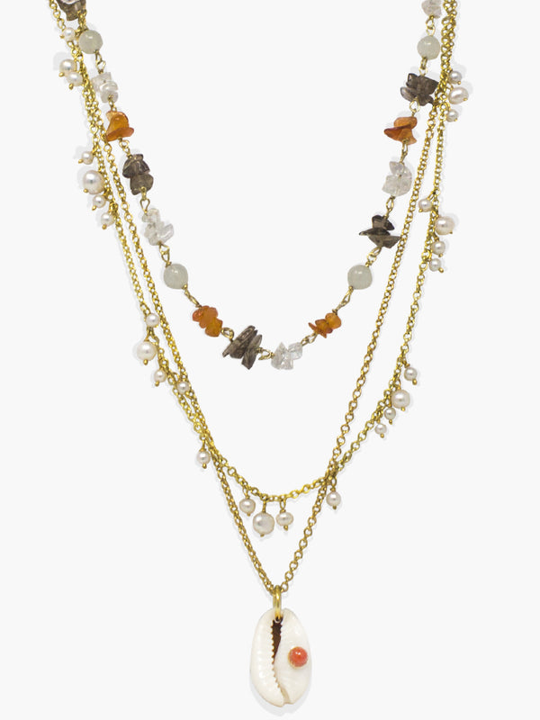 Coral & Cowrie Shell Layered Necklace | Vintouch Jewels