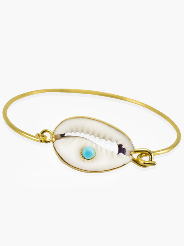 Turquoise & Cowrie Shell Cuff Bracelet | Vintouch Jewels