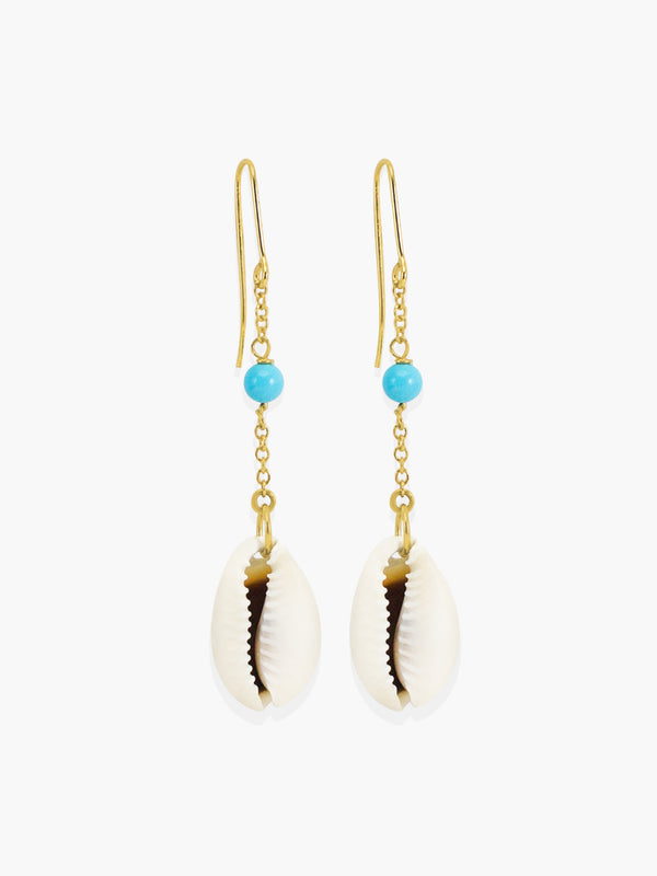 Turquoise & Cowrie Shell Chain Earrings | Vintouch Jewels