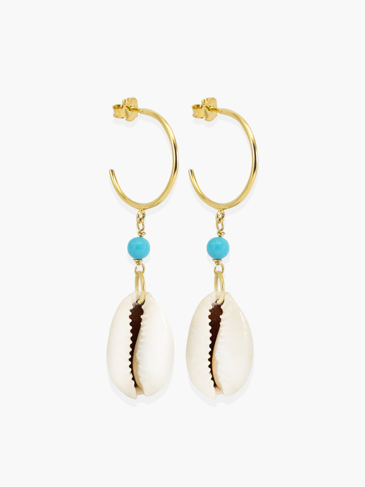 Turquoise & Cowrie Shell Hoop Earrings | Vintouch Jewels
