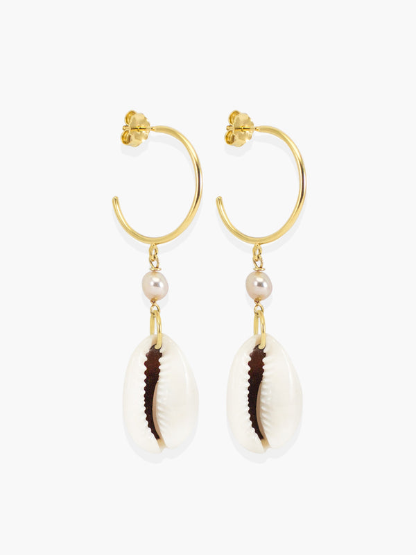 Pearls & Cowrie Shell Hoop Earrings | Vintouch Jewels