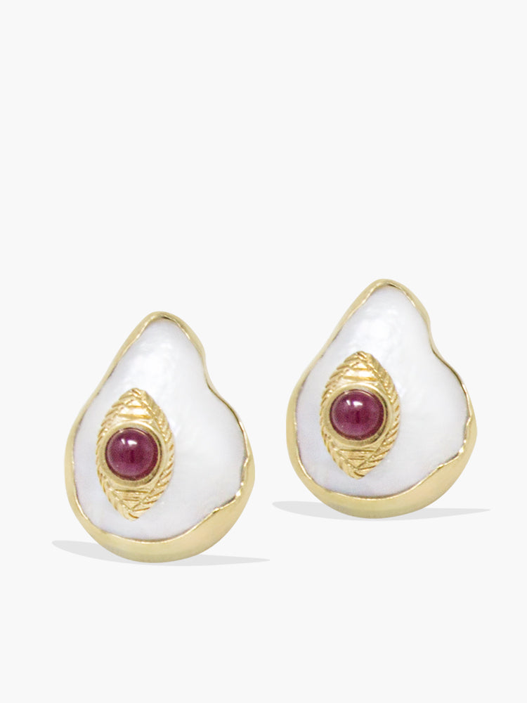 The Eye Gold-plated Ruby & Pearl Stud Earrings