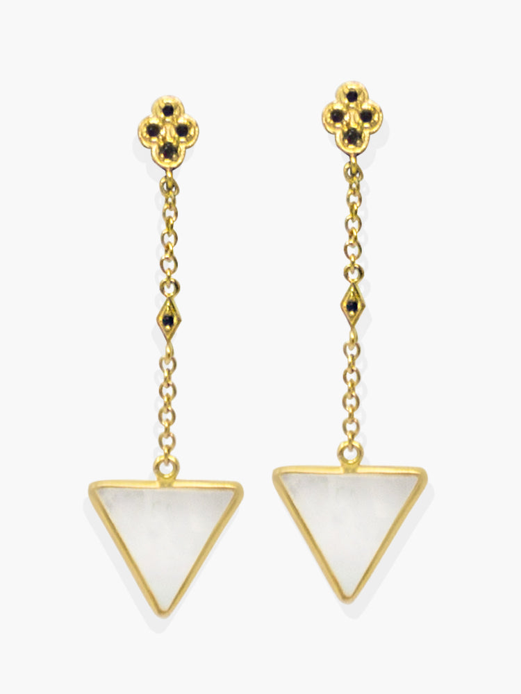 These long pending earrings revisits the 20's mood through the use of iconic geometric elements - a distinctive sign of the Deco style - featuring black cubic zirconia that shimmer in the light and whitey mother of pearl that is ethically sourced and shaped by hand in the traditional cutting factories in the town of Torre del Greco, Italy.