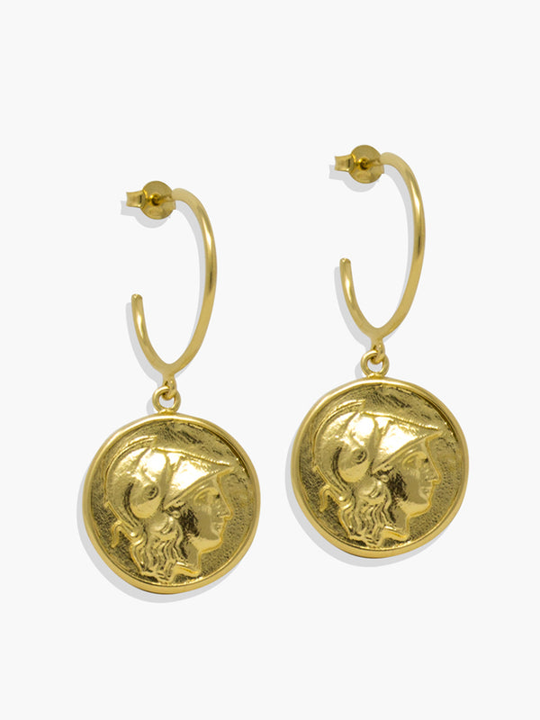 Gold-plated silver Athena Hoop Earrings by Vintouch Jewels