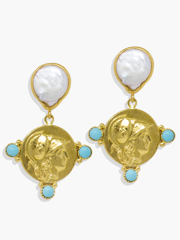 Athena Pearl & Turquoise Drop Earrings