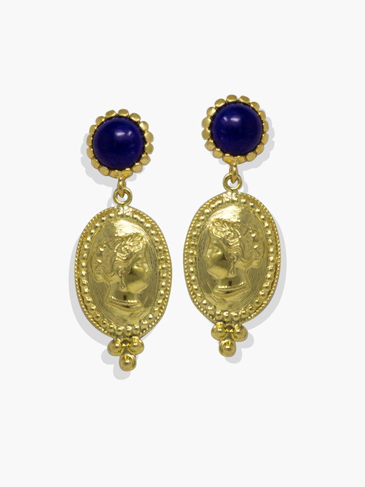 Gold-plated Silver Cleopatra Lapis Earrings