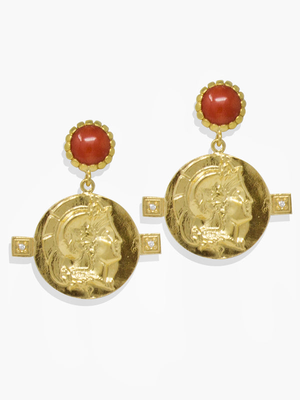 Gold-plated Achilles Coral Earrings by Vintouch Jewels.