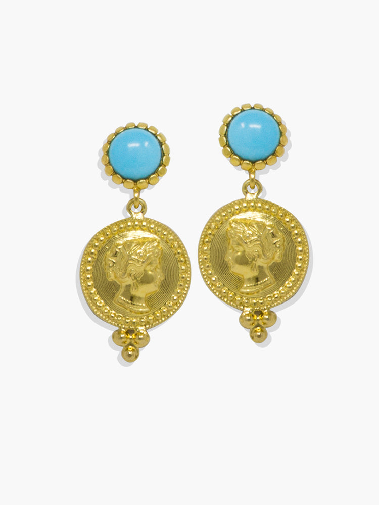 Gold-plated silver Cleopatra turquoise earrings by Vintouch Jewels.