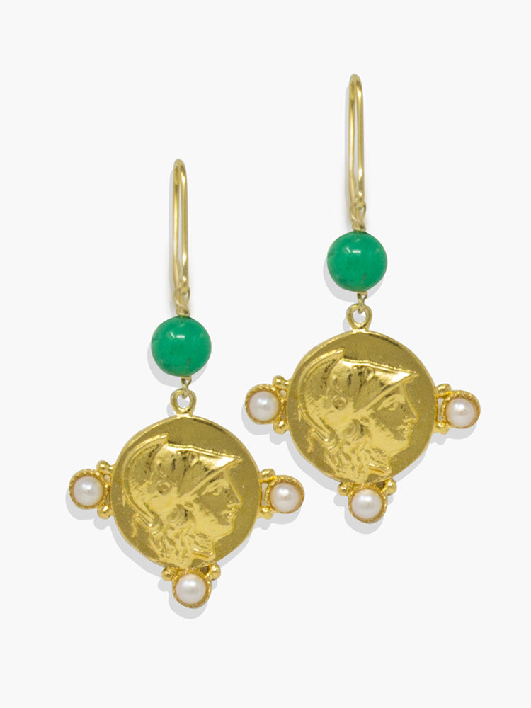 Gold-plated silver Athena chrysoprase and pearl earrings.
