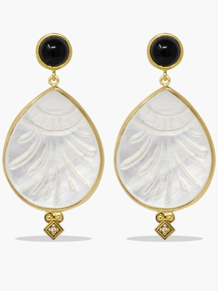 Vintouch's Feuilles hand-carved Mother of Pearl & Onyx Gold-plated Statement Earrings