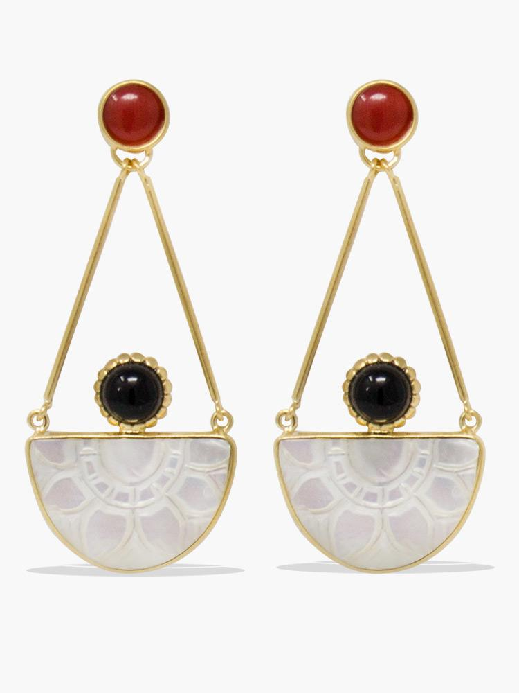 Vintouch's Opera Onyx, Carnelian & Mother of Pearl Statement Earrings