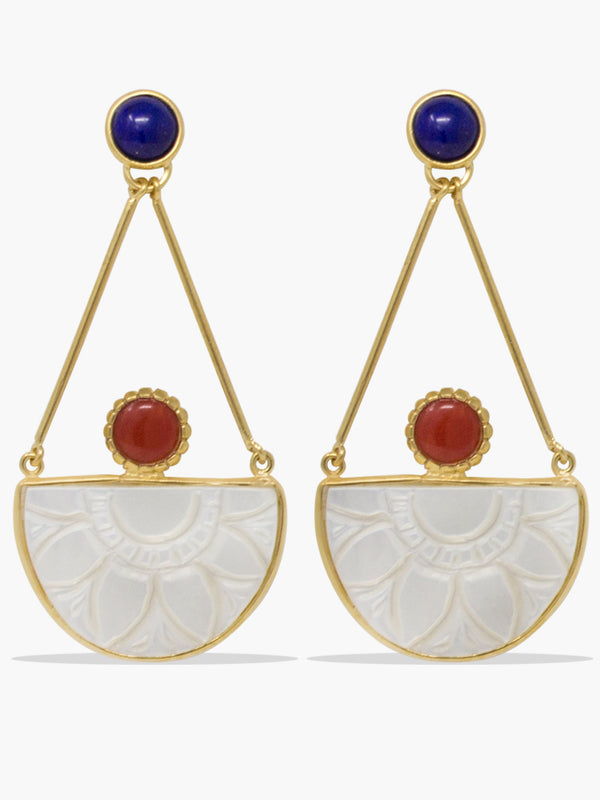 Vintouch's Opera Coral, Lapis & Mother of Pearl Earrings