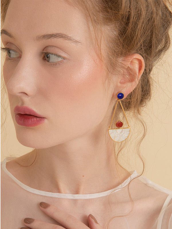 Opera Coral, Lapis & Mother of Pearl Statement Earrings