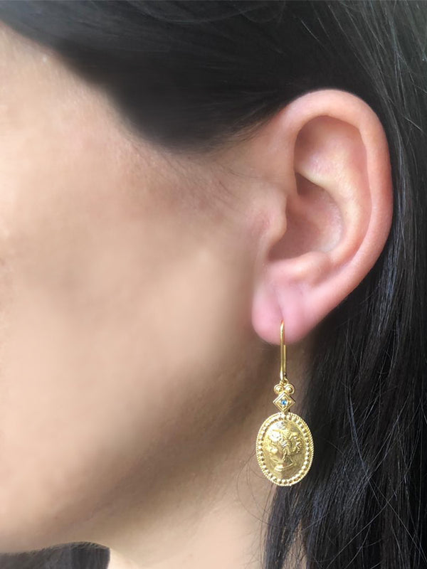 Cleopatra Gold-plated Oval Earrings