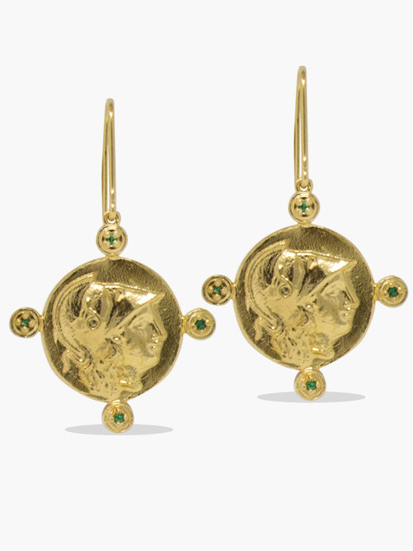 Gold-plated silver Athena Coin Earrings