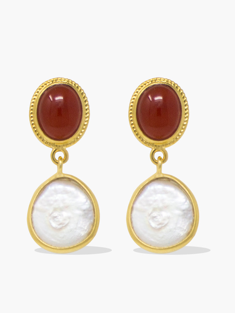 Gold-plated Carnelian & Pearl Earrings