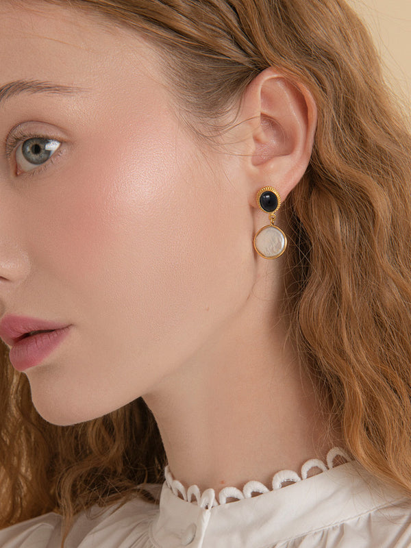 Gold-plated Onyx & Pearl Earrings