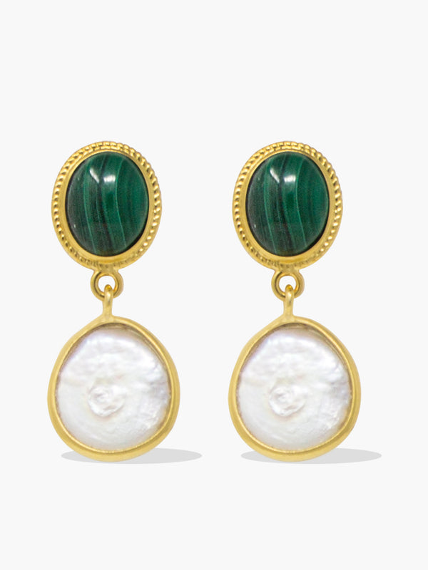 Gold-plated silver Malachite & Pearl Earrings by Vintouch Jewels