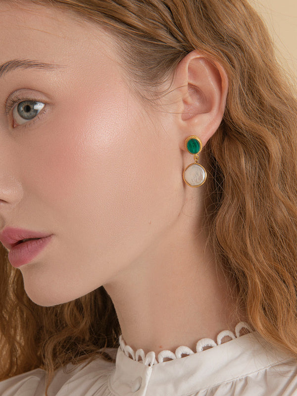 Gold-plated Malachite & Pearl Earrings