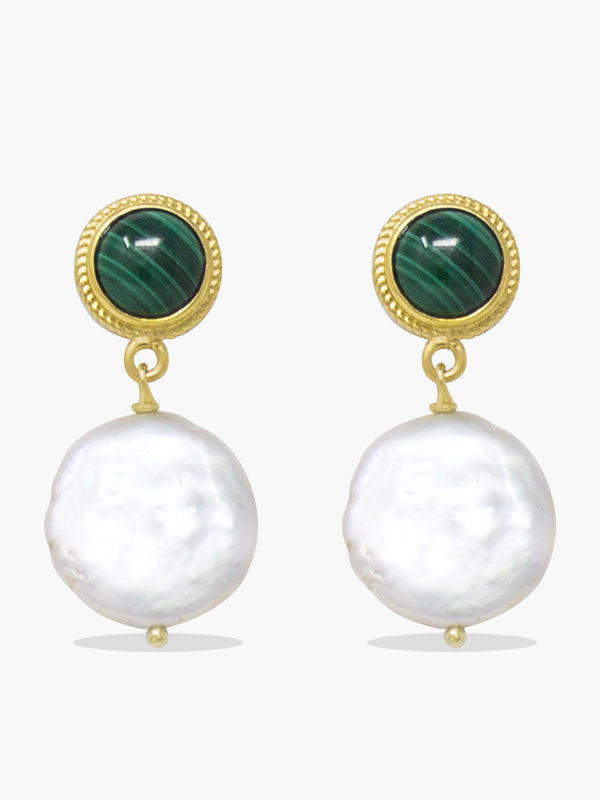 Gold-plated Malachite & Keshi Pearl Earrings
