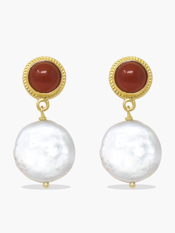 Gold-plated Silver Carnelian & Keshi Pearls earrings by Vintouch Jewels