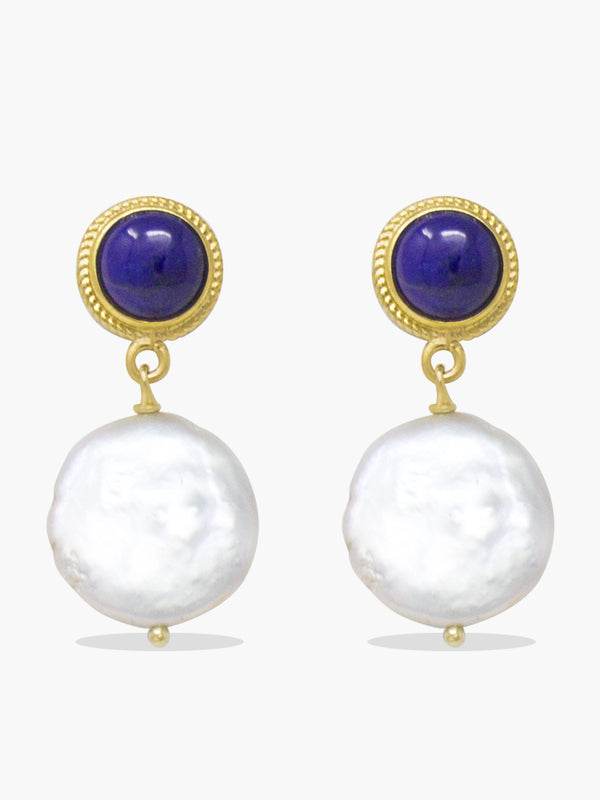Gold-plated Silver Lapislazzuli & Keshi Pearl earrings by Vintouch Jewels.