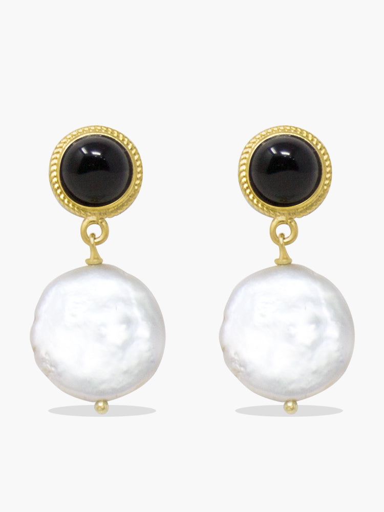 Gold-plated Silver Black Onyx & Pearl Earrings by Vintouch Jewels
