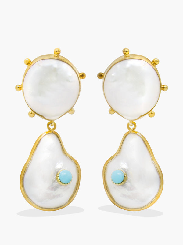Rebel Rebel Pearl & Turquoise Statement Earrings