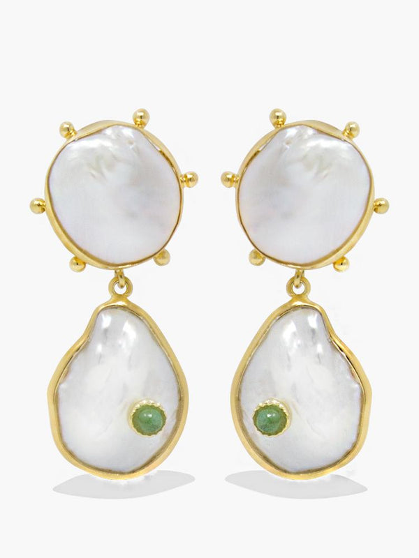 Rebel Rebel Pearl & Green Emerald Statement Earrings by Vintouch Jewels. Featuring handset in 18-karat gold-plated silver glossy keshi and baroque pearls centered with 0.5 carats green emeralds.